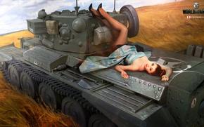 Обои Nikita Bolyakov, арт, средний, World of Tanks, рисунок, девушка, танк, Cromwell, поле, колосья, британский