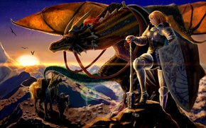 Картинка горы, оружие, дракон, Девушки, доспехи, воины