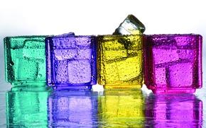 Обои вода, капли, краски, лёд, ice, water, drops
