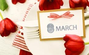 Картинка тарелка, тюльпаны, 8 марта, Holidays, сервировка, Tulips, женский день, March 8