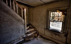 Обои снег, комната, окно, лестница, развалины