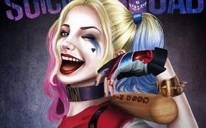 Картинка взгляд, арт, подмигивание, бита, Harley Quinn, Suicide Squad
