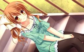 Картинка взгляд, девушка, улыбка, лестница, сидит, art, omigawa hitomi, takano yuki