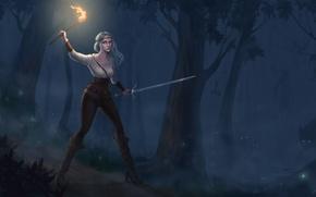Картинка лес, взгляд, девушка, ночь, звери, огонь, арт, факел, зеленые глаза, Witcher 3: Wild Hunt, Cirilla