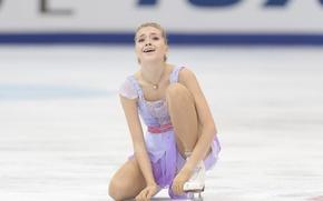 Картинка лёд, фигурное катание, ice, Россия, сидит, Russia, фигуристка, Елена Радионова