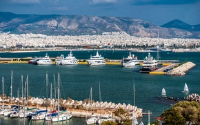 Картинка море, Греция, sea, гавань, harbour, Greece, Pireus, Пирей