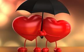 Картинка любовь, сердце, зонт, love, влюбленные, heart, umbrella