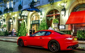 Картинка ночь, красный, люди, Maserati, здание, red, night, мазерати, granturismo, building, novitec