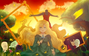 Картинка деревья, игра, картина, кукла, арт, девочка, слёзы, Mary, Lemonthrower