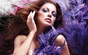 Картинка sexy, feathers, model, makeup