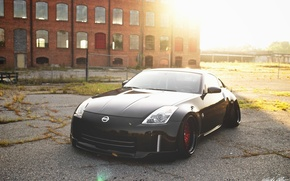 Картинка nissan, wheels, 350z, black, japan, jdm, tuning, front, custom, face, low, nismo, stance, datsun, Fairlady …