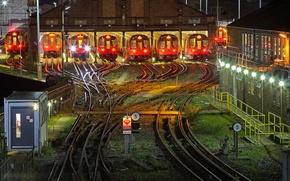 Обои метро, Лондон, Англия, поезд, ночь, депо, огни