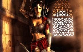 Картинка девушка, украшения, город, комната, игра, доспехи, Фара, лук, лучница, фэнтези, красавица, Prince of Persia: The ...