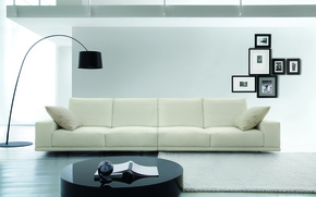 Картинка белый, фото, стол, диван, рамка, торшер