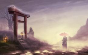 Картинка пейзаж, туман, дерево, зонт, самурай, фонари, мужчина, кимоно, врата, jin, samurai champloo