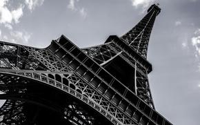 Картинка город, обои, Франция, Париж, высота, красота, Эйфелева башня, архитектура