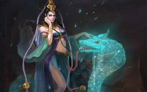 Картинка девушка, змея, арт, змей, созвездние