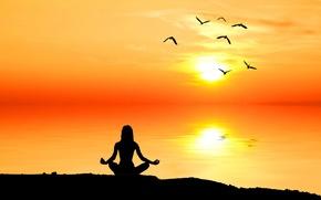 Картинка природа, рассвет, раздумье, человек, силуэт, медитация, nature, sunrise, размышление, созерцание, meditation, wallpaper., beautiful background, красивый …