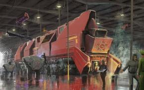 Картинка поезд, ангар, символ, art