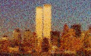 Обои цветы, небоскребы, нью-йорк, всемирный торговый центр, world trade center, wtc, манхэттен