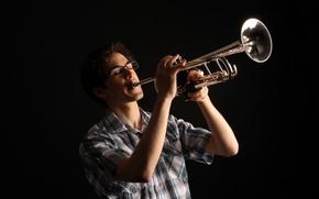 Картинка музыка, человек, труба
