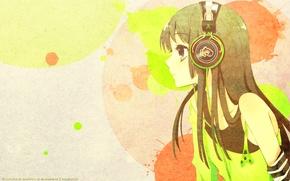 Картинка аниме, наушники, арт, akiyama mio, k-on, легкая музыка