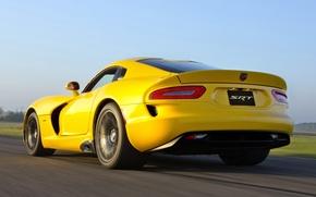 Картинка небо, желтый, Додж, Dodge, суперкар, Viper, вид сзади, GTS, Вайпер, SRT