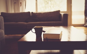 Картинка стол, комната, кофе, чашка, книга