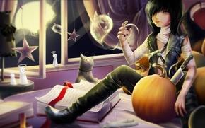 Картинка кошка, комната, луна, книги, дух, окно, арт, нож, призрак, лента, тыква, парень, записи, halloween, звездочки, …