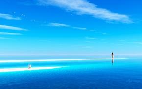 Картинка песок, море, девушка, камни, океан, арт, пирамидка