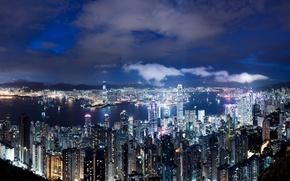 Картинка ночь, China, небоскребы, залив, Hong-Kong