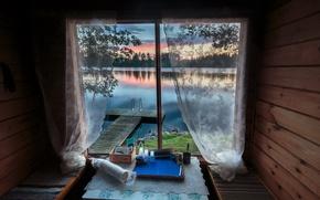 Картинка мост, озеро, дом, окно