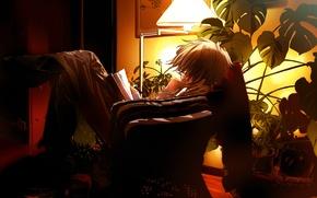 Обои вечер, аниме, книга