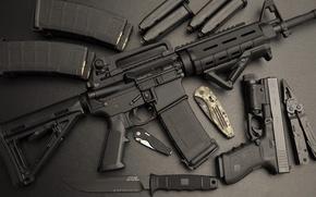 Картинка пистолет, нож, автомат, штурмовая винтовка, Ar-15