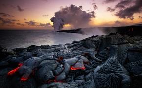 Картинка море, пейзаж, дым, Гавайи, пар, лава, США, Гавайский вулканический национальный парк