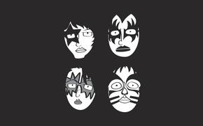 Обои минимализм, группа, rock, маски, рок, kiss, glam, кисс, глэм