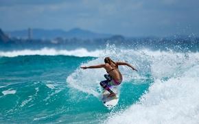 Картинка океан, спорт, серфинг, surfing, серфингистка