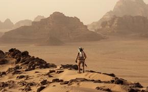 Картинка фантастика, ландшафт, скафандр, костюм, Марс, астронавт, Мэтт Деймон, Марк Уотни, Марсианин, The Martian