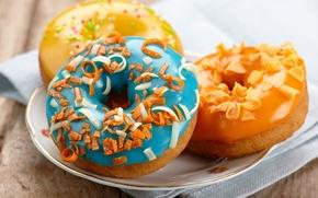 Картинка пончики, пирожное, десерт, выпечка, сладкое, глазурь, donuts