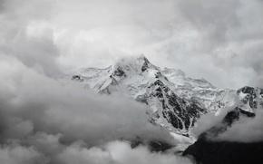 Картинка облака, снег, белое, Гора, вершина, черно