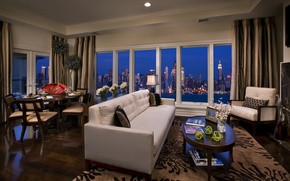 Обои ночь, город, стол, комната, диван, обои, здания, интерьер, небоскребы, окно, wallpaper, пентхаус, квартира, нью-йорк, сша, ...