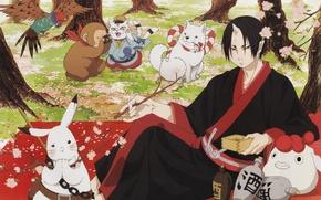 Картинка заяц, собака, весна, сакура, обезьяна, фотоаппарат, попугай, пикник, демоны, art, shiro, hoozuki, natsumi eguchi, hoozuki …