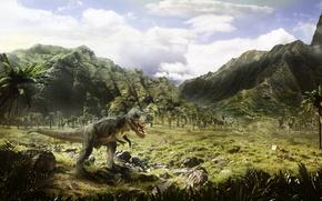Картинка деревья, динозавр, арт, пустош, Jurassic
