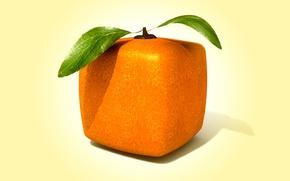 Картинка рендеринг, square, orange, cube, квадратный апельсин
