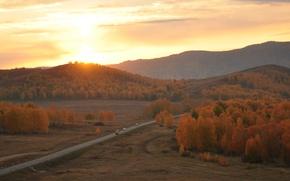 Картинка дорога, осень, пейзаж, закат, горы
