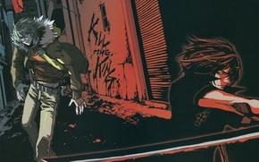 Картинка ночь, улица, крест, катана, лезвие, двое, поединок, враги, akira, shiki, togainu no chi