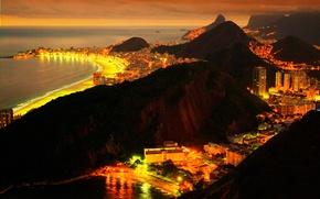 Обои море, ночь, город, огни, Бразилия, Рио-де-Жанейро