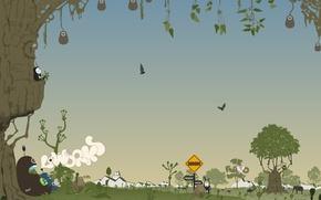 Картинка деревья, вектор, зверушки