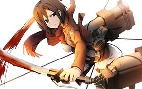 Картинка взгляд, девушка, полет, оружие, кровь, жест, трос, art, shingeki no kyojin, mikasa ackerman, kamitsurugi ouka