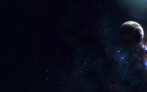 Картинка звезды, свет, пространство, планета, спутник